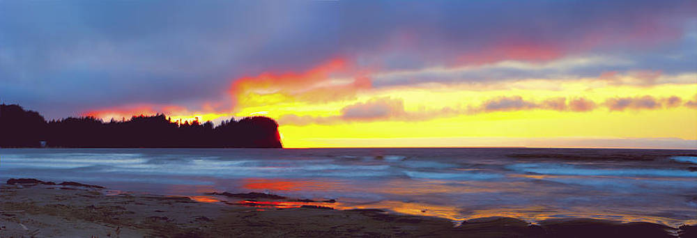 Crescent Beach Panoramic Sunset by Rod Mathis