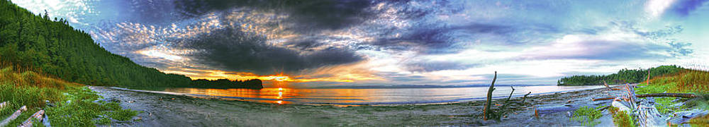 Crescent Beach Sunset Panoramic by Rod Mathis