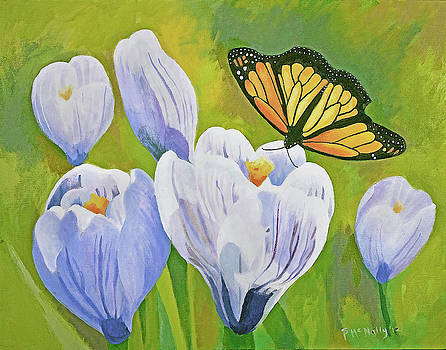 Crocus and Monarch Butterfly by Susan McNally