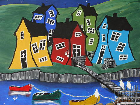 Crooked  House Fishing Village by Beverly Livingstone
