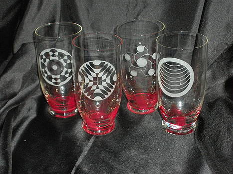 Crop Circle etched glass ware by Ralph Renick