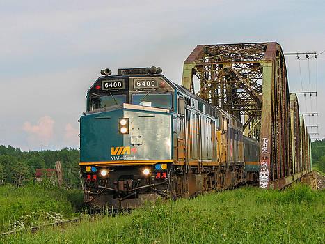 VIA Train Crossing the Miramichi River by Steve Boyko