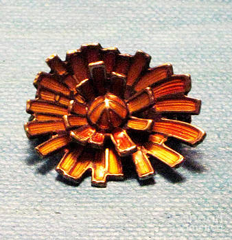 Cubist Sunflowers Gold over Sterling Vintage Jewelry Art by Lois Picasso