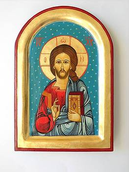 Custom Jesus Christ Pantokrator Hand Painted Byzantine Icon Christian Art First Communion Gift  by Denise ClemencoIcons