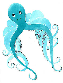 Cute Octopus Painting by Christy Beckwith