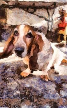 Cute Sad Melancholy Dog watching you with tearful eyes in acrylic  by MendyZ