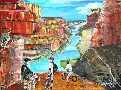 Cyclists in Grand Canyon by Jayne Kerr