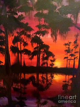 Cypress Swamp at Sunset by Beverly Boulet