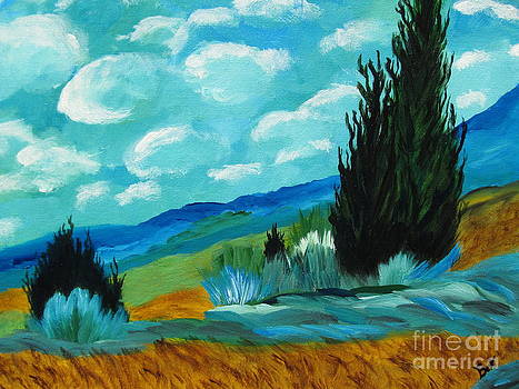 Cypress Trees-after Van Gogh by Beverly Livingstone