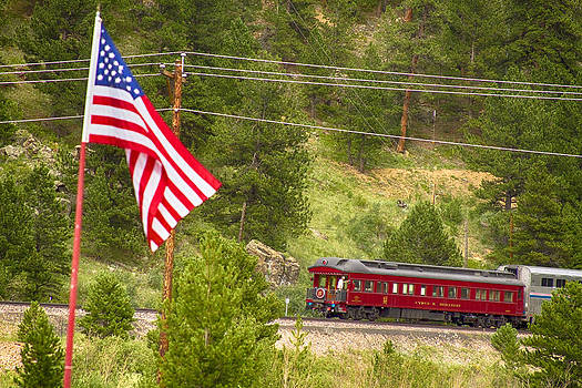 James BO  Insogna - Cyrus K. Holliday Rail Car and USA Flag