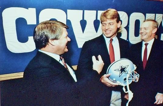 Dallas Cowboys Jimmy Johnson Troy Aikman Jerry Jones by Donna Wilson
