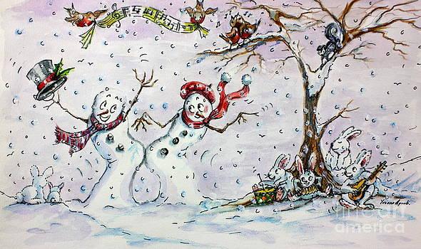 Dancing Snowmen by Yvonne Ayoub