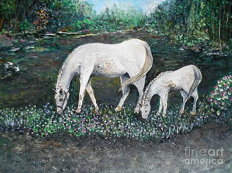 Dappled Mare with Dappled Foal by Rhonda Lee