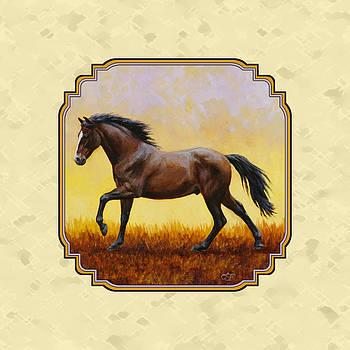 Crista Forest - Dark Bay Running Horse Yellow