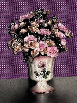 Dark Ink Vase and Flowers by Good Taste  Art