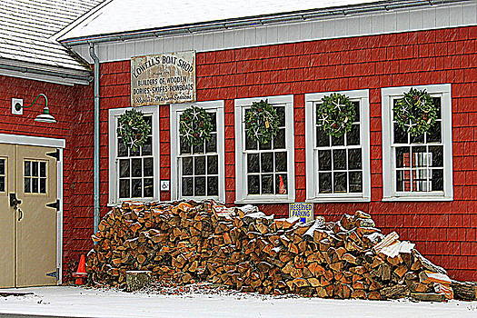 December at Lowell's Boat Shop by Suzanne DeGeorge