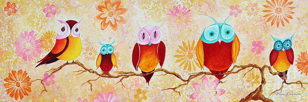 Decorative Whimsical Owl Owls Chi Omega Painting by Megan Duncanson by Megan Duncanson