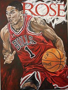 Derrick Rose On The Attack by David Courson