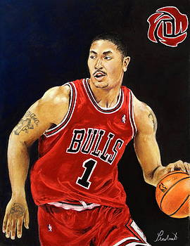 Derrick Rose Pastel Portrait - Chicago Bulls by Prashant Shah