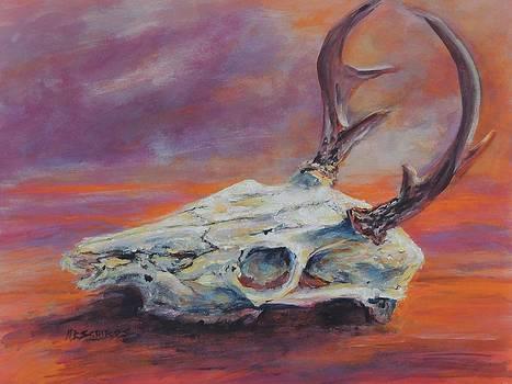 Desert Sunset Deer by Mary Schiros