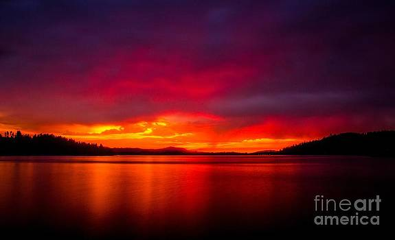 Dexter Lake Oregon Sunset by Michael Cross