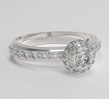 Diamond 14k White Gold Ball Engagement Ring  by Roi Avidar