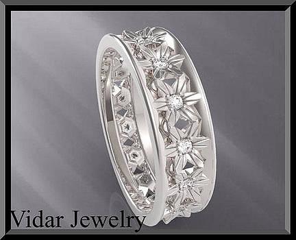 Diamond 14k White Gold Flower Woman Wedding Ring by Roi Avidar