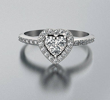 Diamond 14k White Gold Heart Engagement Ring by Roi Avidar