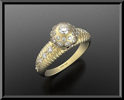 Diamond 14k Yellow Gold Ball Engagement Ring  by Roi Avidar