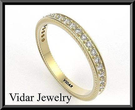 Diamond Half Eternity 14k Yellow Gold Woman Wedding Ring by Roi Avidar