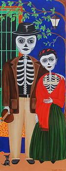 Diego y Frida blue house marigolds by Evangelina Portillo