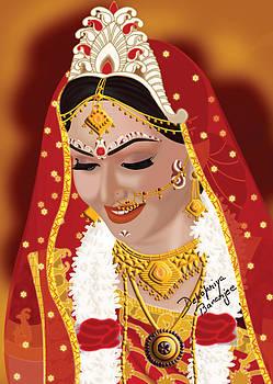 Digital Painting of Bengali Bride by Debopriya Banerjee