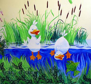 Hanne Lore Koehler - Dipping Duckies - Furry Forest Friends mural