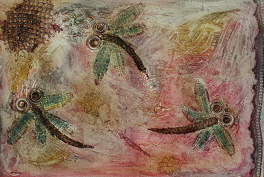 Rustic Dragonflies Pinks by Lyndsey Hatchwell