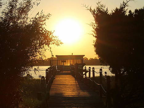 Dock at Sunset by Kay Mathews