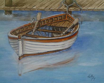 Docked Rowboat by Kelly Mills