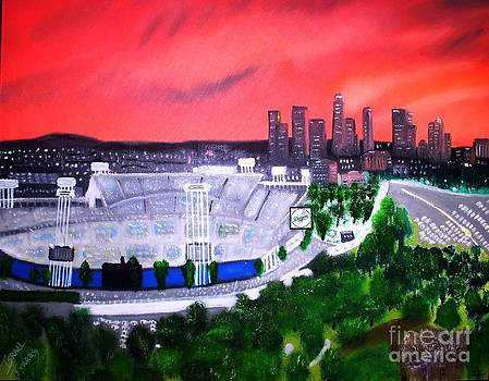 Dodger Stadium / Los Angeles Skyline by Israel  A Torres
