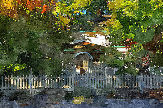 Mick Anderson - Dog At The Door of a Colorful Bed and Breakfast