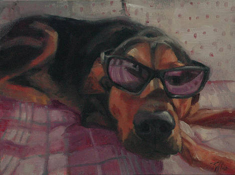 Dog in Sunglasses by Pet Whimsy  Portraits