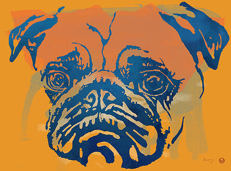 Dog stylised pop modern etching art portrait by Kim Wang