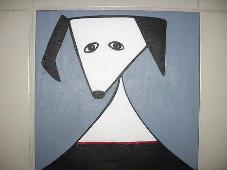 Dog with red collar by Sandra McHugh