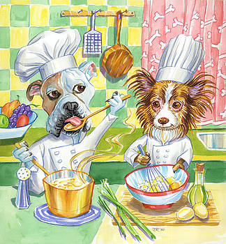 Dogs in the kitchen by John Rose