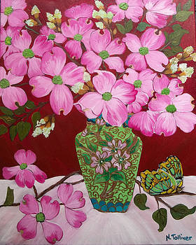 Dogwood Blossums in Chinese Vase by Norma Tolliver