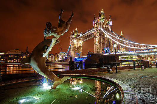 Dolphin Fountain Tower Bridge London by Donald Davis