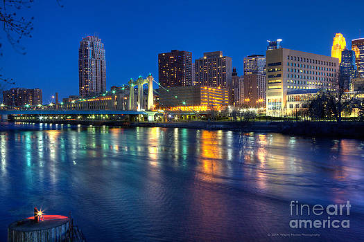 Downtown Minneapolis Skyline Hennepin Avenue Bridge by Wayne Moran