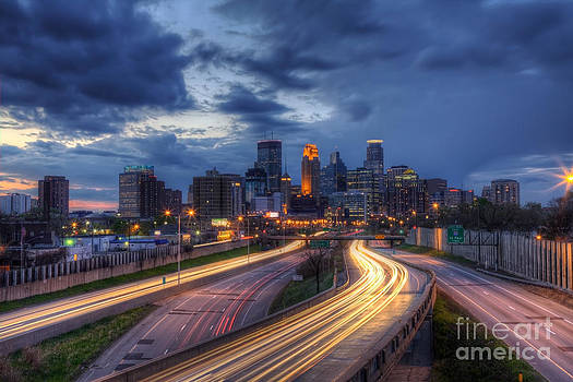 Downtown Minneapolis Skyline On 35 W Sunset by Wayne Moran