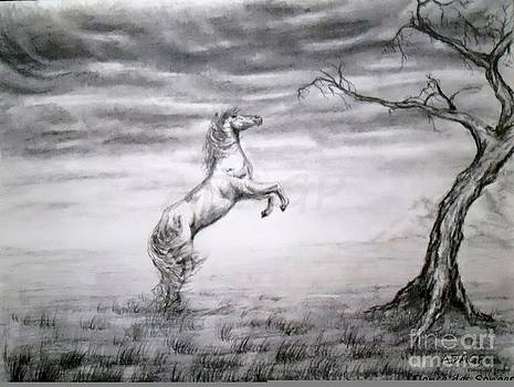 Drawing Landscape Horse by Danse DesSonges
