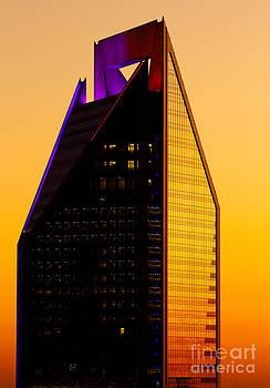 Duke Energy Tower at sunset vertical by Patrick Schneider
