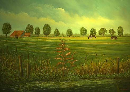 Dutch farm in autumn by Andries Hartholt