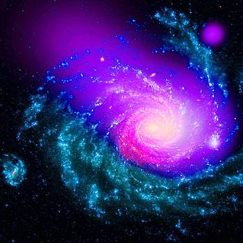 Dwarf Galaxy Caught Ramming Into a Large Spiral Galaxy by Robert Rhoads
